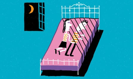 Illustration of couple lying on bed