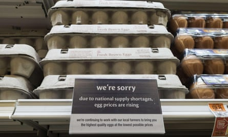 A notice that the price of eggs will be rising soon at a Giant grocery store on 4 June 2015 in Clifton, Virginia.