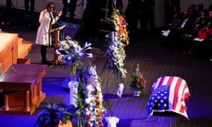Maya Rockeymoore Cummings speaks during funeral services for her late husband, Elijah Cummings, in Baltimore, Maryland, on 25 October.