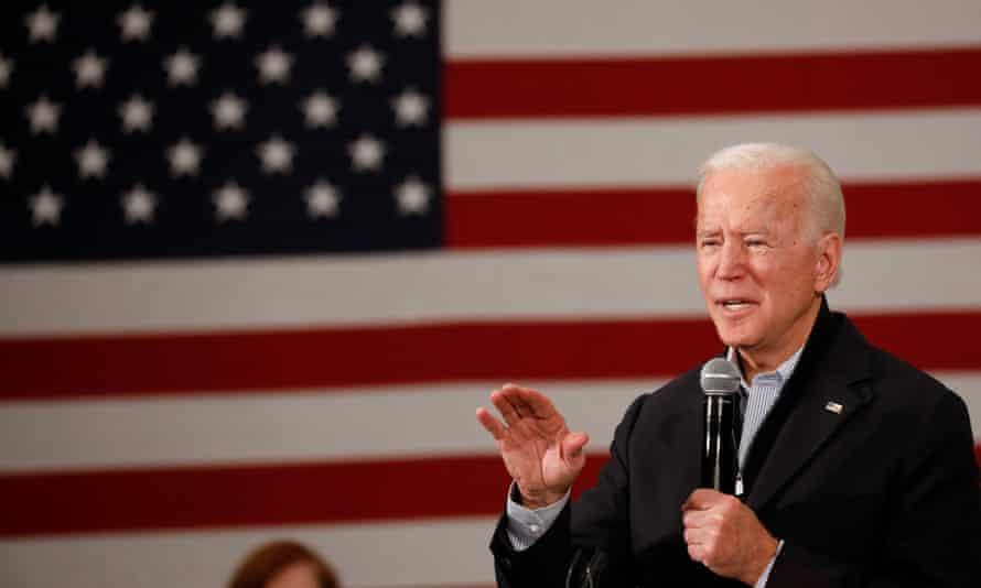 Joe Biden speaks during a town hall in Ames, Iowa, on 4 December.