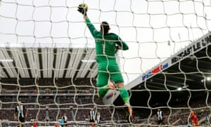 Newcastle United's Martin Dubravka saves a shot during the 0-0 draw with Norwich.