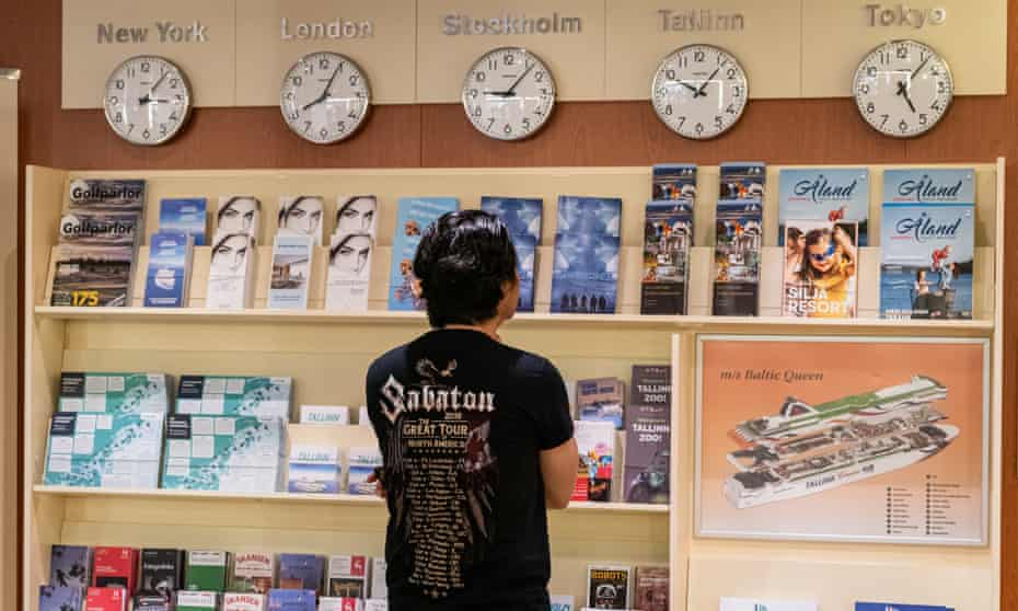 Where to next? A fan checks out the brochures on the Sabaton Cruise