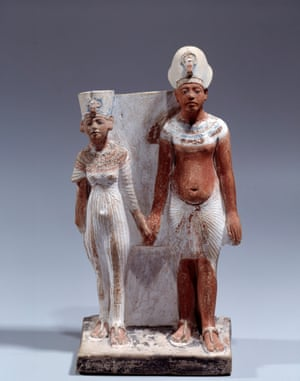 Painted limestone statuette of Akhenaten and Nefertiti,1353-1337 BC.