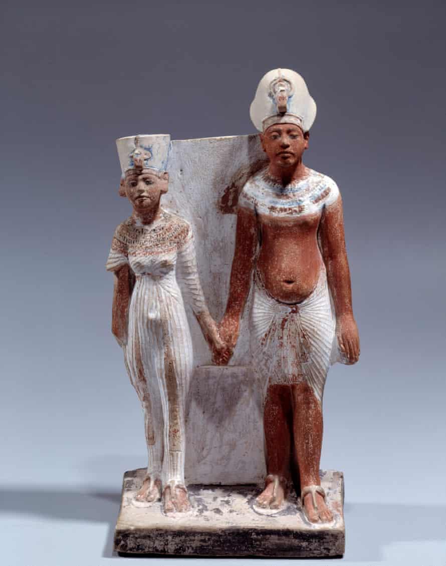 Painted limestone statuette of Akhenaten and Nefertiti,1353-1337 BC.