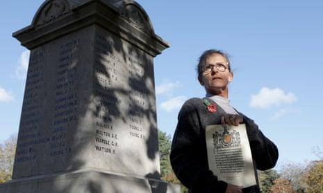 Amanda Harrison at the war memorial in Barnard Castle
