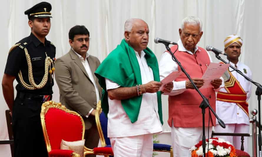BJP leader BS Yeddyurappa is sworn in as chief minister of Karnataka.