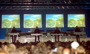 'Perfect, metronomic beauty' ... Kraftwerk performing at Tribal Gathering, 1997.