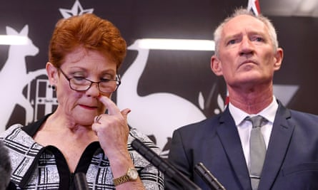 Queensland Senator and One Nation leader Pauline Hanson (L), next to party official Steve Dickson (R), speaks during a press conference in Brisbane, Queensland, Australia, 28 March 2019.