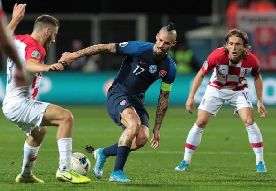 Marek Hamsik in action for Slovakia against Croatia in a Euro 2020 qualifier