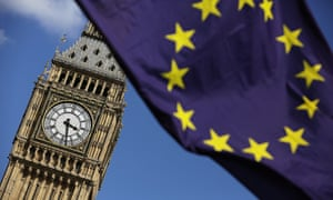 An EU flag flies in front of Big Ben