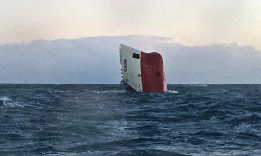Cemfjord prow seen above waves in Pentland Firth