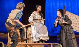 Hyoie O'Grady (Curly), Amara Okereke (Laurey) and Josie Lawrence (Aunt Eller) in Oklahoma! at Chichester Festival theatre