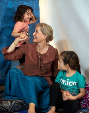 The Countess of Wessex plays with refugee children in Bekaa Valley, Lebanon