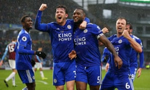Wes Morgan celebrates after scoring Leicester's second goal against Burnley.