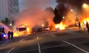 Cars burn in Gothenburg on 13 August