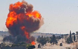 Ariha, Syria A fireball erupts from the site of an explosion reportedly targeting a joint Turkish-Russian patrol on the strategic M4 highway in the rebel-held Idlib province