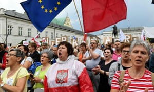 Thousands have attended demonstrations in Warsaw against bills proposing changes to the judiciary system. Poland's president has said he will veto the two bills.