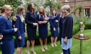 Theresa May meets the British women's rugby and cricket teams at Downing Street, August 2017.
