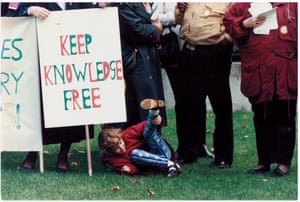 'Let's bring 'em to book over lost libraries' — protest against library closures outside the House of Commons, October 1995.GNM Archive ref: GUA/6/9/1/1/L box 5
