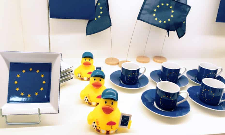 EU memorabilia is displayed on the fourth-floor gift shop.