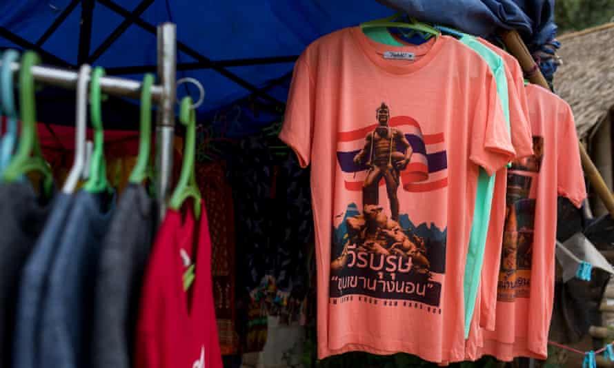 Commemorative shirts sold outside of Tham Luang Nang Non Cave