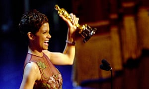 Halle Berry accepts the Oscar for Best Actress in 2002.