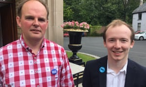 Conservative party members Roland McMurray, left, and Callum Best, outside the leadership hustings venue in Belfast.