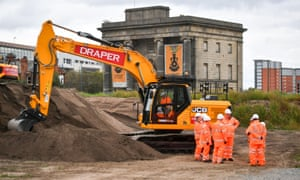Secretary of state for transport Chris Grayling meets with construction workers at the Old Curzon Street station site, Birmingham, where work is underway to build the HS2 terminal.