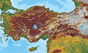 Map of Turkey showing the position of the Ilusu dam and the site of Ziyaret Tepe.