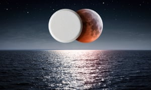 Nocturnal seascape with moon and pill