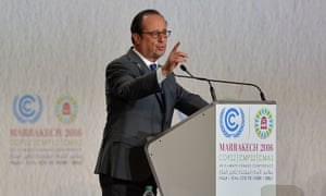 President Francois Hollande at the UN climate conference in Marrakech.