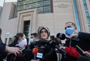 Saudi journalist Jamal Khashoggi's fiancee Hatice Cengiz speaks to reporters after the trial of 26 defendants over the killing of Khashoggi at Saudi Arabia's consulate in Istanbul, Turkey, in 2018.