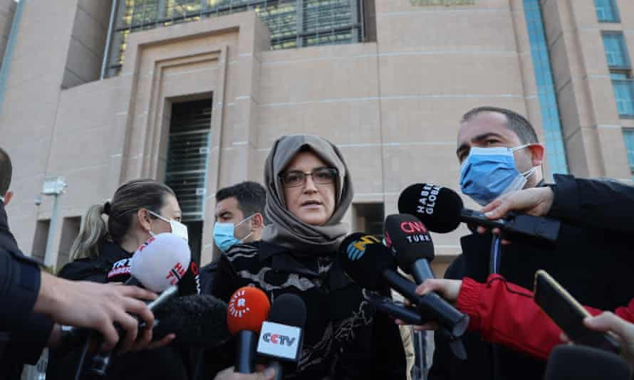Hatice Cengiz outside the court complex in Istanbul