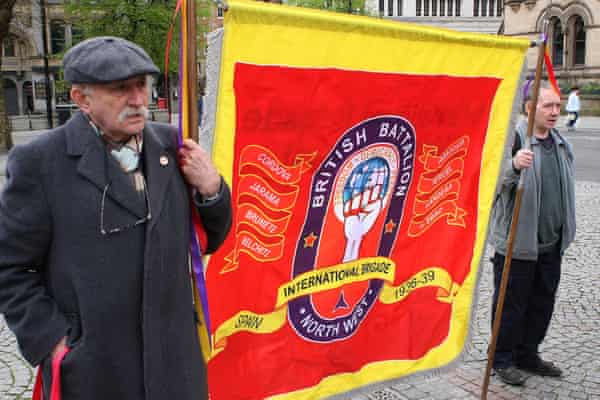 An International Brigades banner at an International Workers Memorial Day rally in Manchester in 2018.