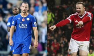 Leicester City's Danny Drinkwater, left, may very well play in next season's Champions League but Manchester United's Wayne Rooney could miss out.