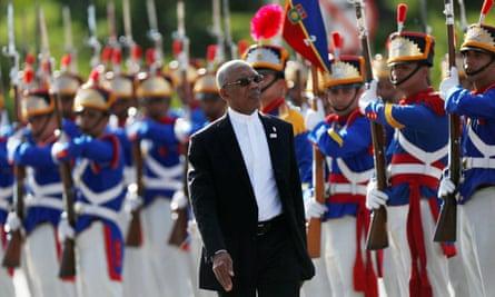 Guyana's president, David Granger, in Brasília, Brazil
