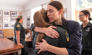 Jacinda Ardern comforted first responders in the aftermath of the volcano's eruption.