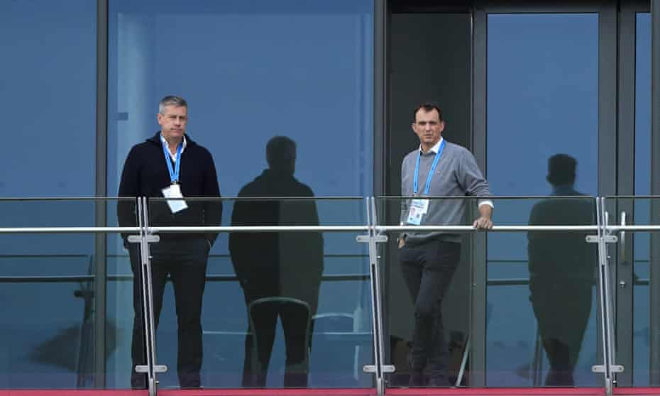 England director of cricket Ashley Giles and ECB chief executive Tom Harrison pictured at Old Trafford last week.