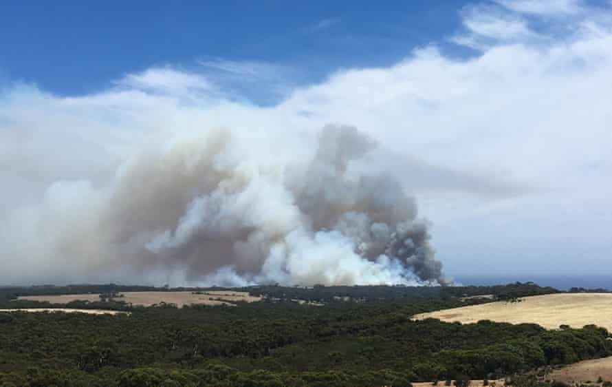Smoke billows from the fire on Wednesday