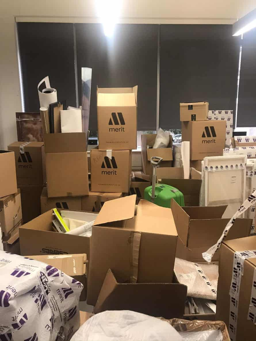 Boxes of artwork piled up in the Glassmill building.