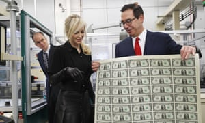 Steven Mnuchin with his wife Louise Linton at the Bureau of Engraving and Printing (BEP) in Washington.