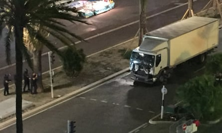 The scene in Nice where it is alleged a truck or lorry drove into a crowd.