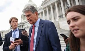 Senator Joe Manchin leaves the US Capitol after the last Senate vote on 10 June.
