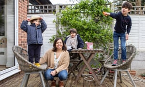 Huma Qureshi with her sons Jude Birch, 2, Sina Birch, 4 and Suffian, at their home in London.