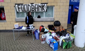 A food bank outside the King Power Stadium before a Premier League match in January 2020.