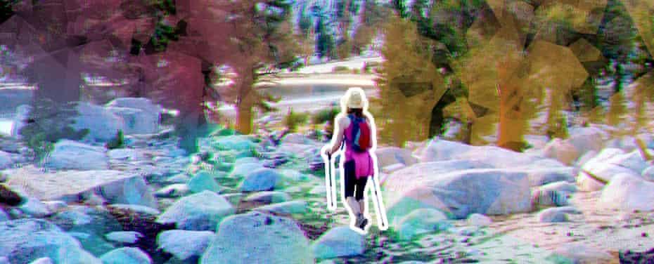 illustration of woman hiking