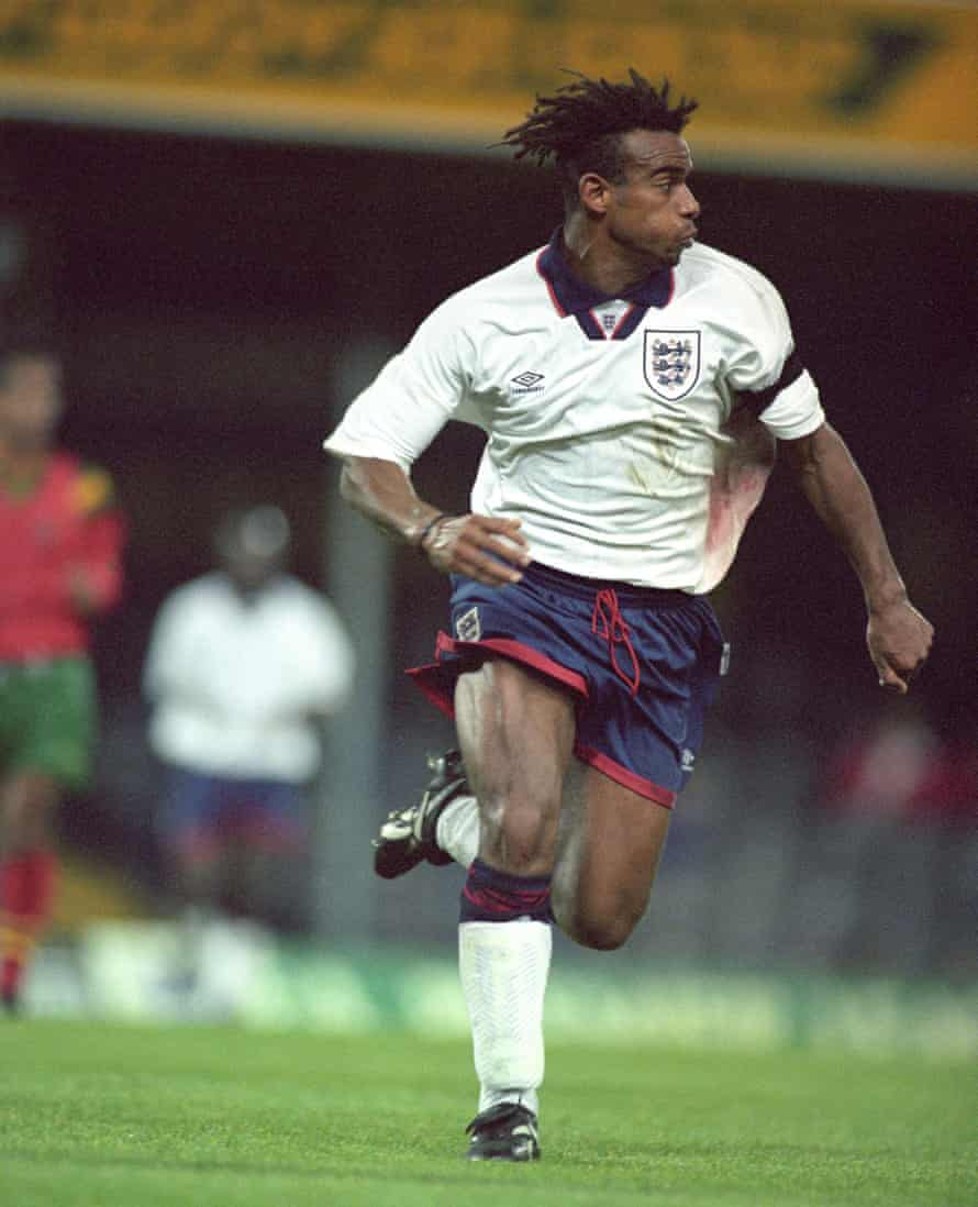 Trevor Sinclair in action for England's Under-21s