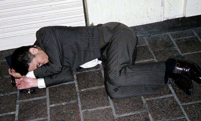 Image result for Japanese Workers sleeping street