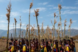 Young women participate in the annual 'Umhlanga', or reed dance ceremony, in Mbabane, Swaziland