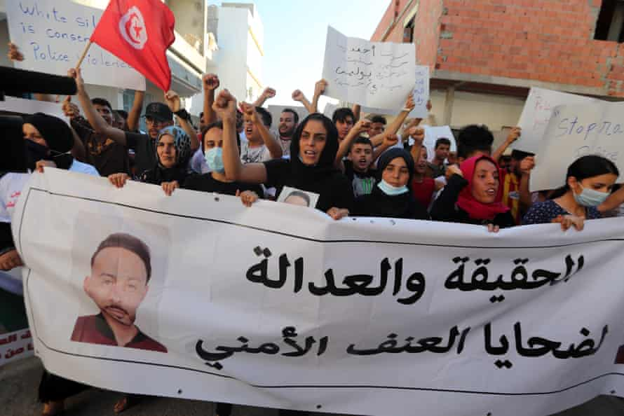 A protest against police violence in Tunisia